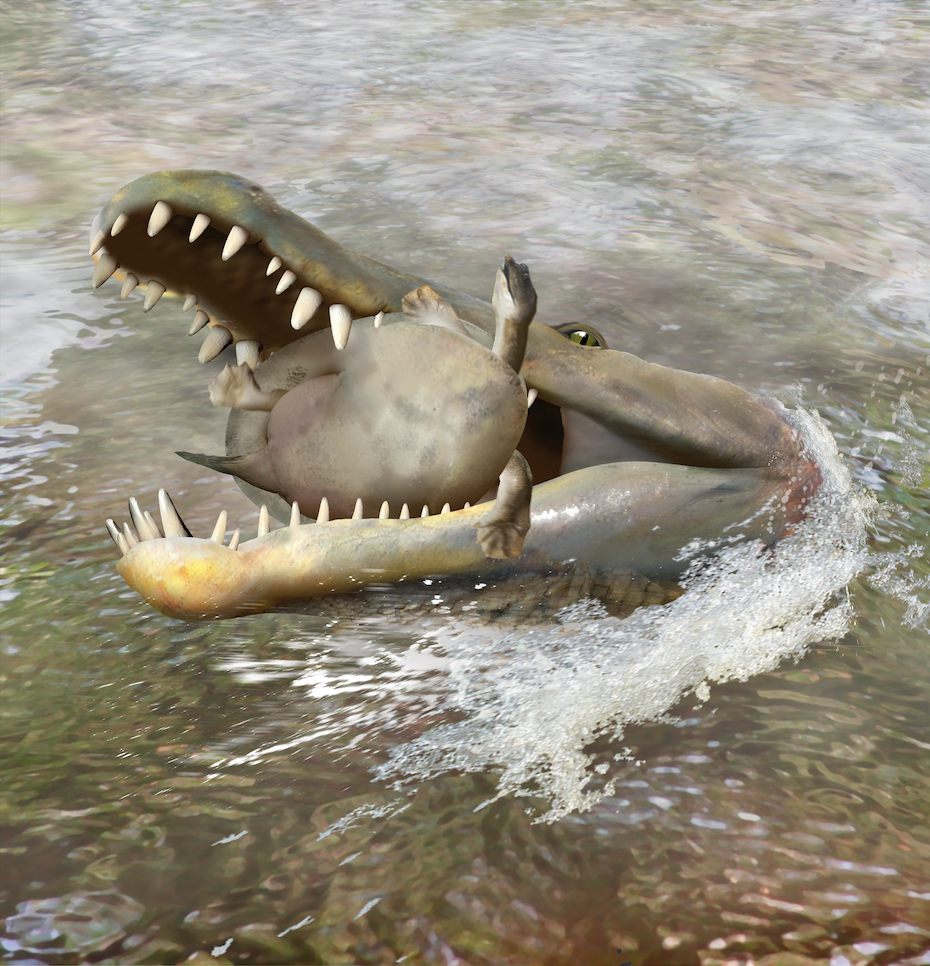 Cretaceous crocodile crunching critter (artist's conception)