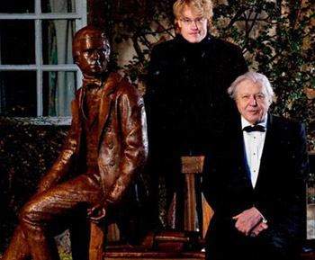 Sir David Attenborough and Anthony Smith with the Young Charles Darwin statue at Christ's College Cambridge. Photograph by Richard Lewisohn, via Entangled Bank Events.