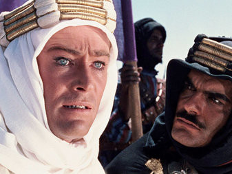"""Peter O'Toole and Omar Sharif in """"Lawrence of Arabia"""". (From The New York Times.)"""