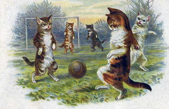free-vintage-fathers-day-card-cats-playing-soccer