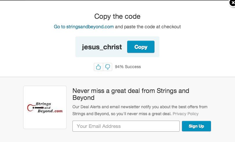 Strings and Beyond Jesus Christ coupon