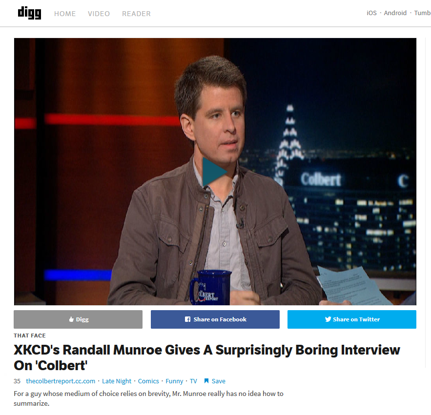 Randall Munroe on the Colbert report (screen shot from Digg).