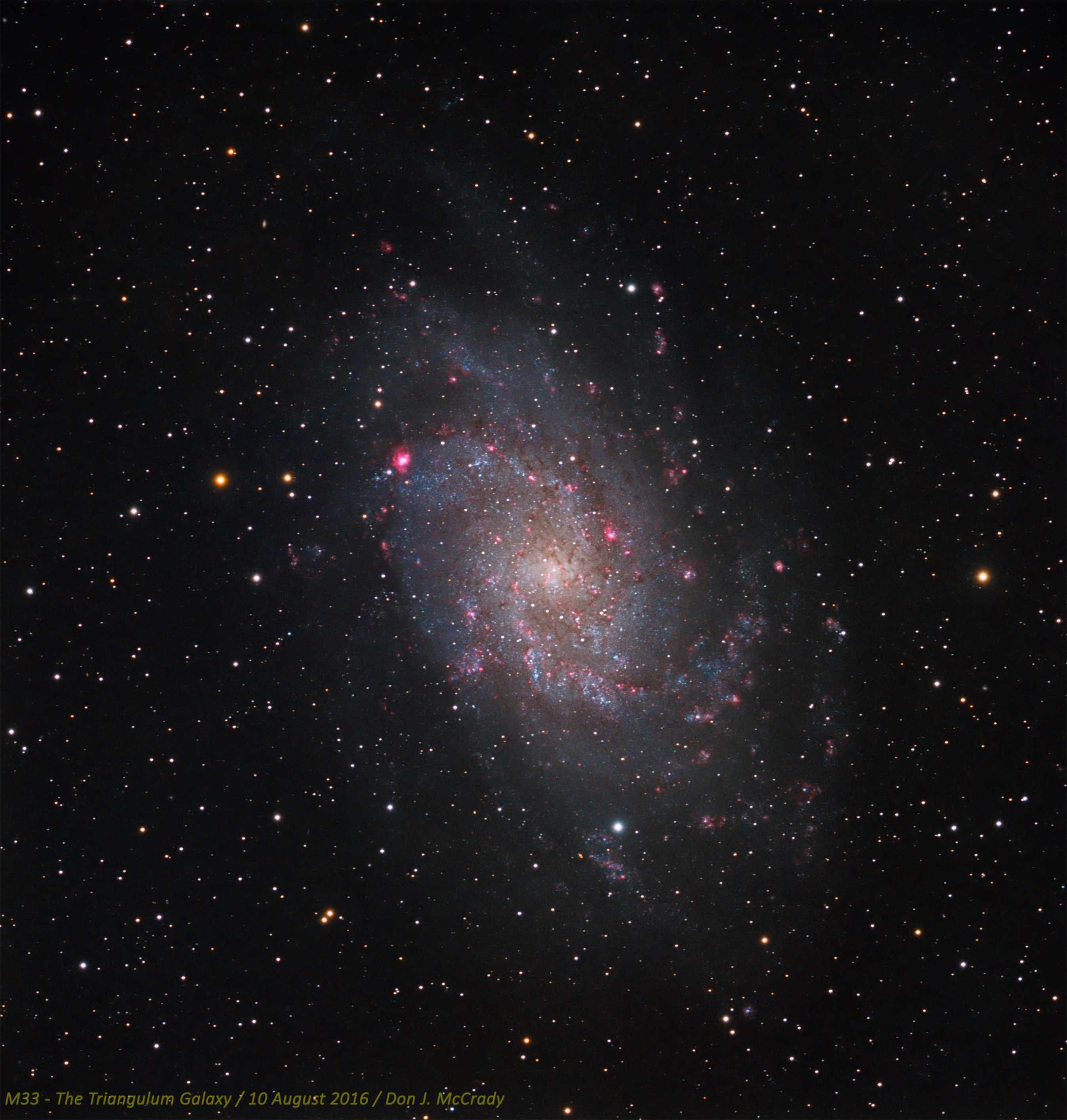 The Pinwheel galaxy, also known as M33, is one of the closest large galaxies to our own, and also one of the brightest. Although it has a low surface brightness, it can be seen with the unaided eye from a very dark rural site. The brightest HII region has its own NGC designation, NGC 604, and can also be easily seen in an amateur telescope at moderate power. The image is a combination of Red, Green, and Blue, augmented with a layer of Hydrogen-alpha to bring out the HII regions. It was taken using a Stellarvue SVS130 and an SBIG STL-4020M, and processed in MaximDL, PixInsight, and Photoshop. The final image was upsampled 1.5x.