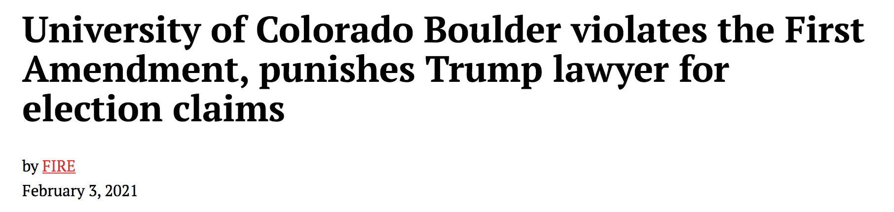 Trump lawyer fired from the University of Colorado for giving a speech at Trump's rally