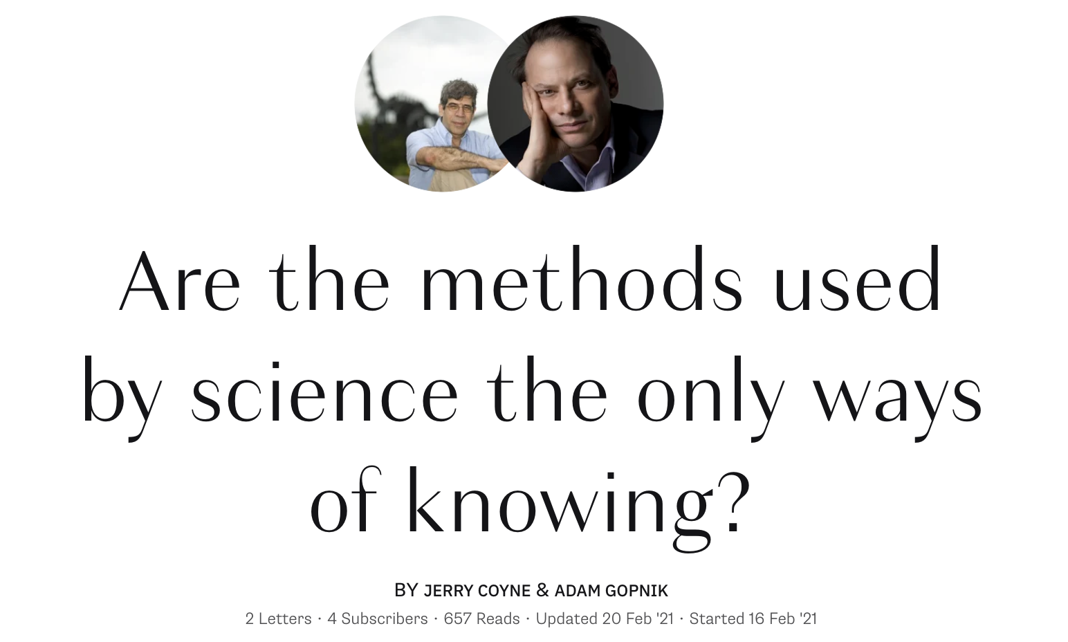 """Response from Adam Gopnik in the """"Ways of knowing"""" discussion"""